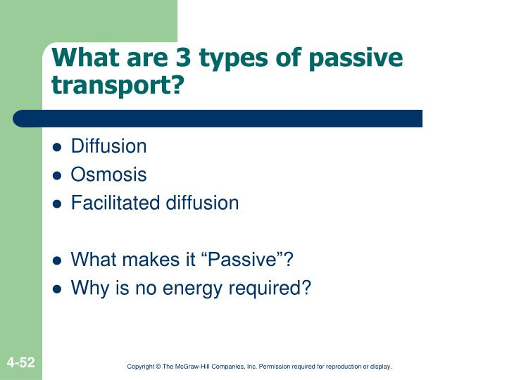 What are 3 types of passive transport?