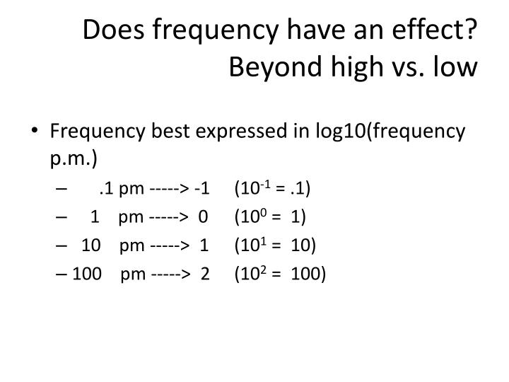 Does frequency have an effect?