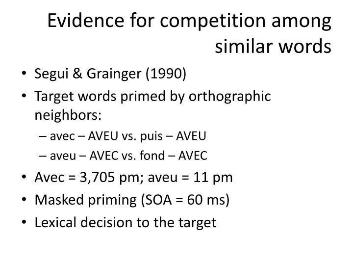Evidence for competition among similar words