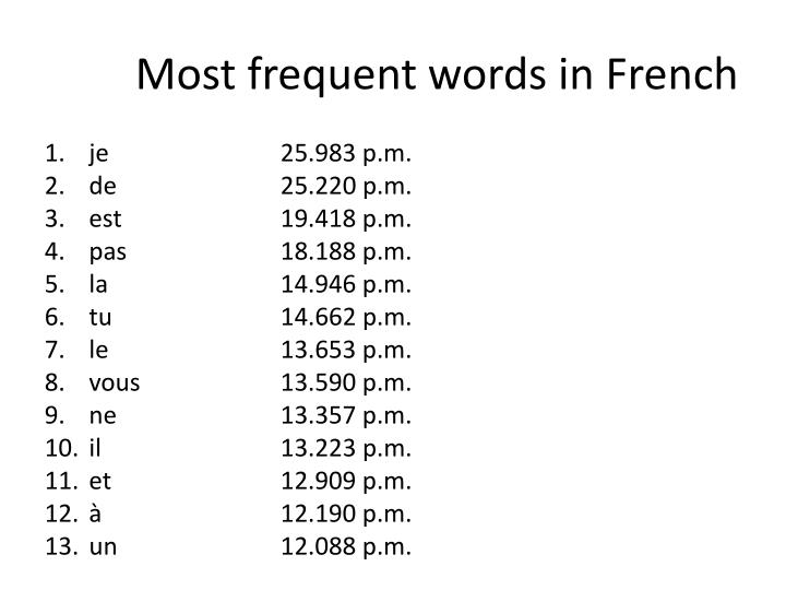 Most frequent words in French