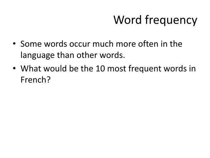 Word frequency