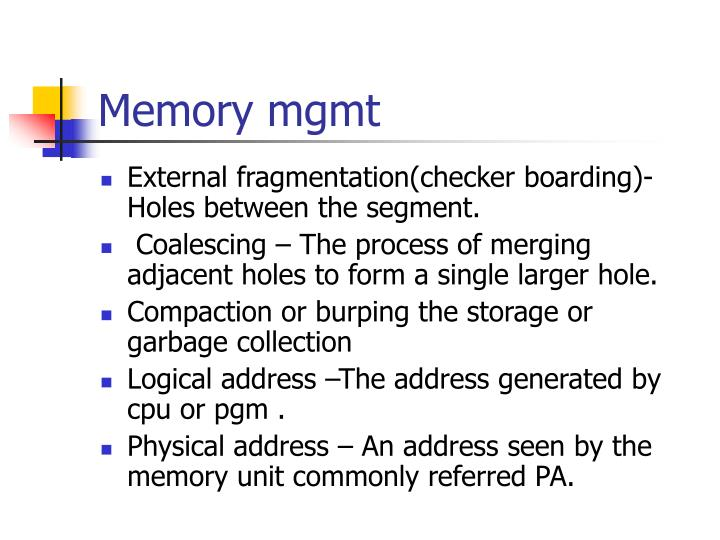 Memory mgmt