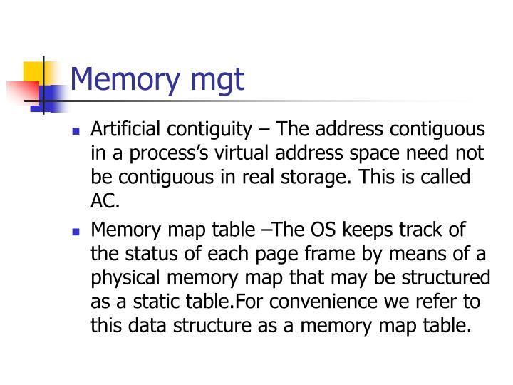 Memory mgt