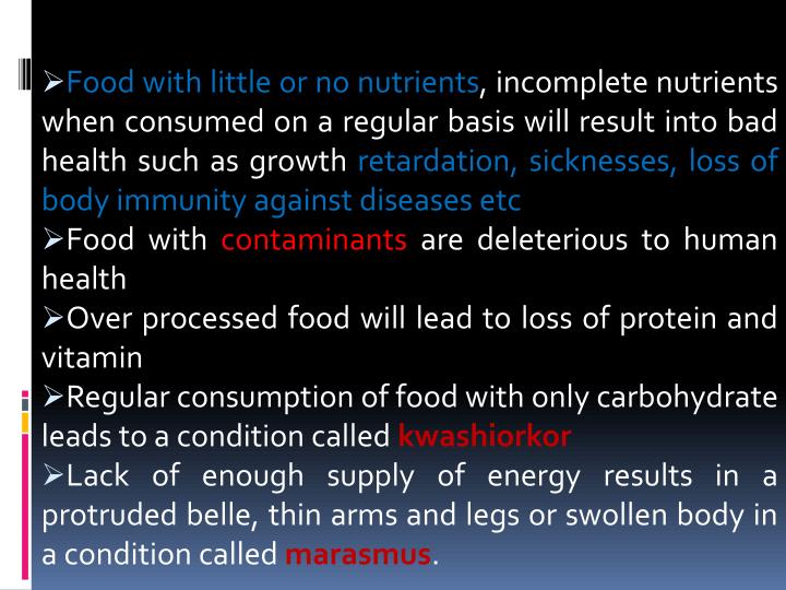 Food with little or no nutrients