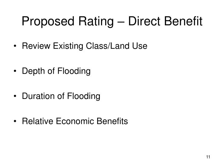 Proposed Rating – Direct Benefit