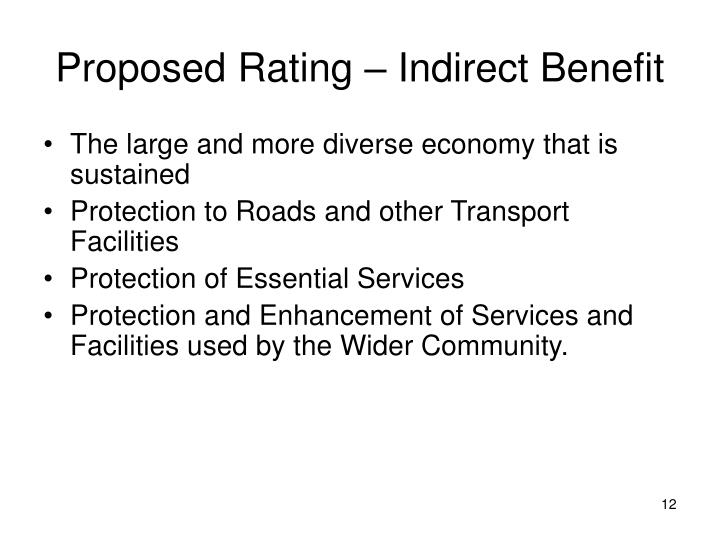 Proposed Rating – Indirect Benefit