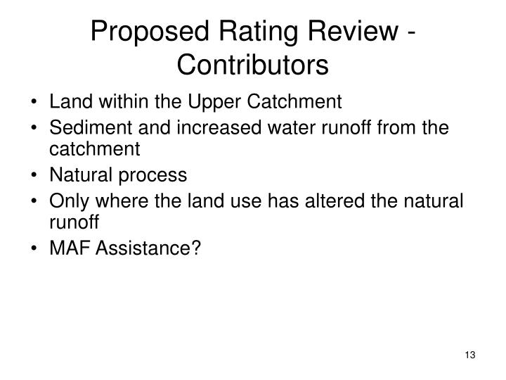 Proposed Rating Review - Contributors