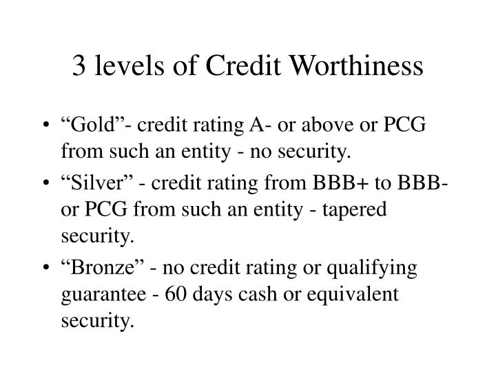 3 levels of Credit Worthiness