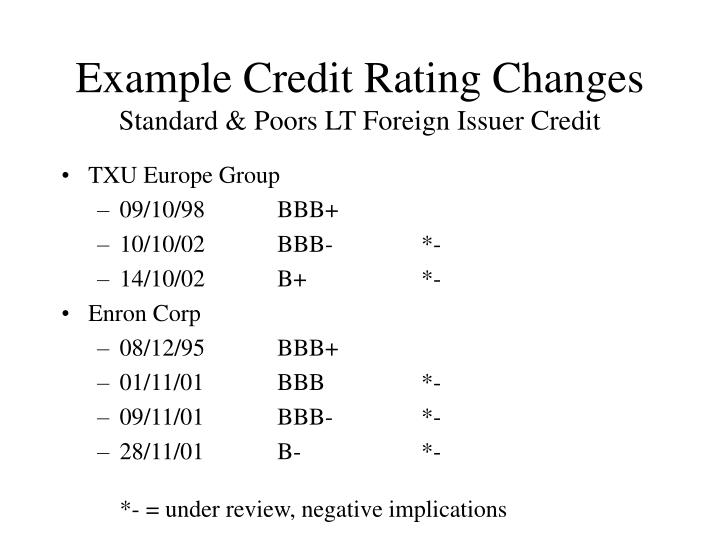 Example Credit Rating Changes