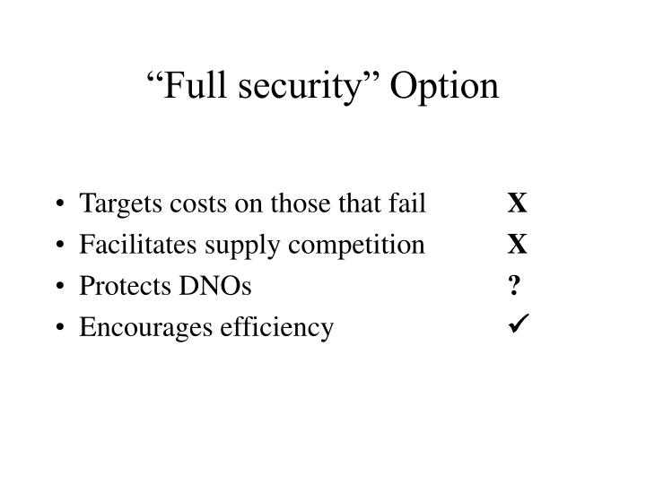 """Full security"" Option"