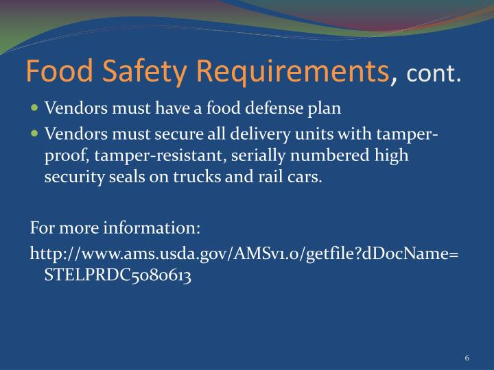 Food Safety Requirements