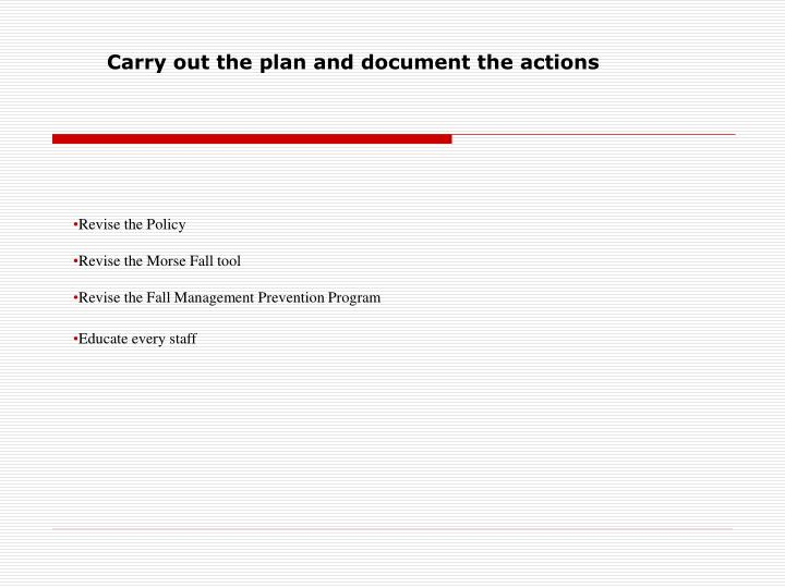 Carry out the plan and document the actions