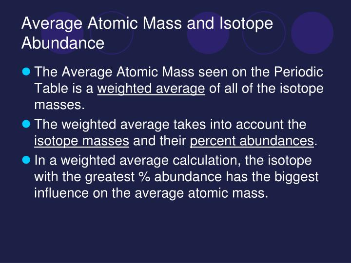 Average Atomic Mass and Isotope Abundance