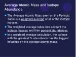 average atomic mass and isotope abundance
