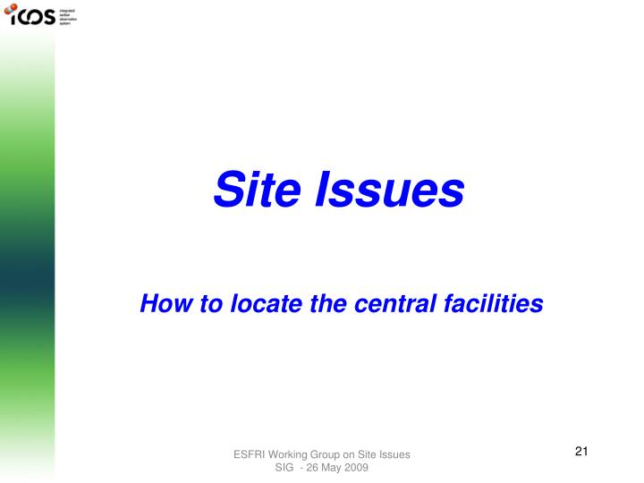 Site Issues