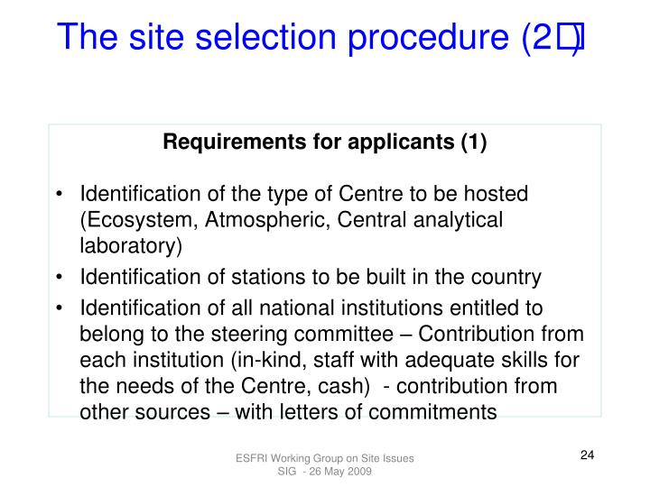The site selection procedure (2