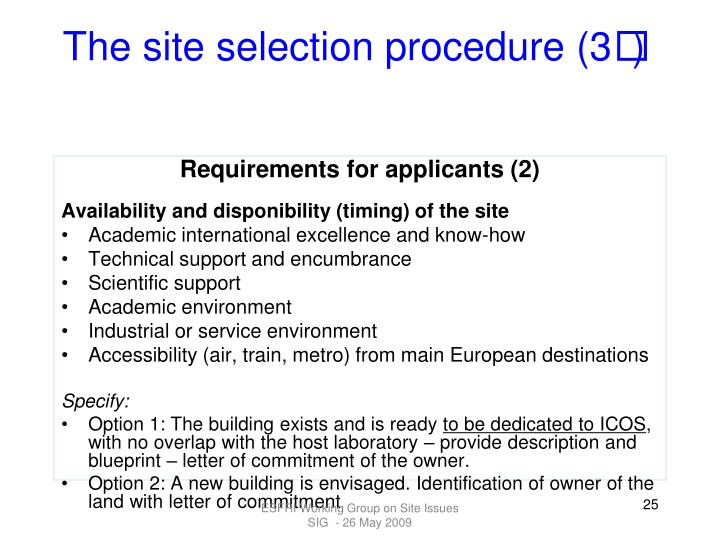 The site selection procedure (3
