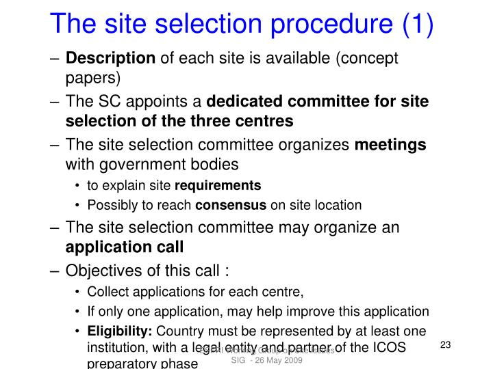 The site selection procedure (1)