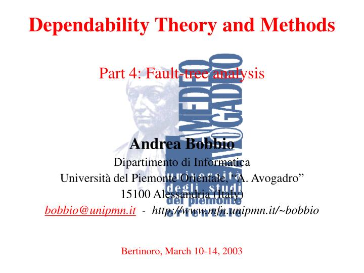 Dependability Theory and Methods