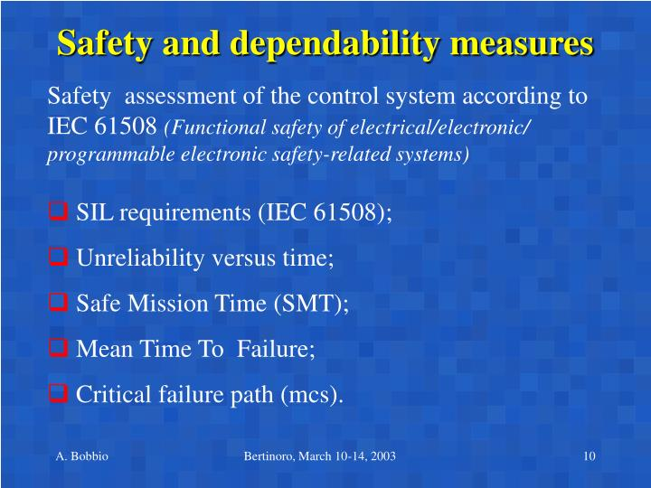 Safety and dependability measures