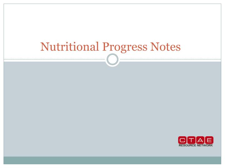 Nutritional Progress Notes