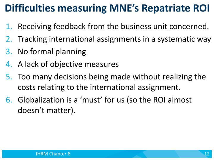 Difficulties measuring MNE's Repatriate ROI