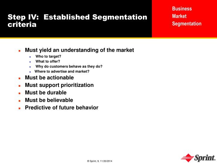 Step IV:  Established Segmentation criteria