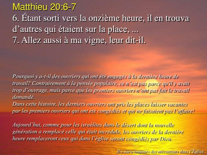 Matthieu 20:6-7