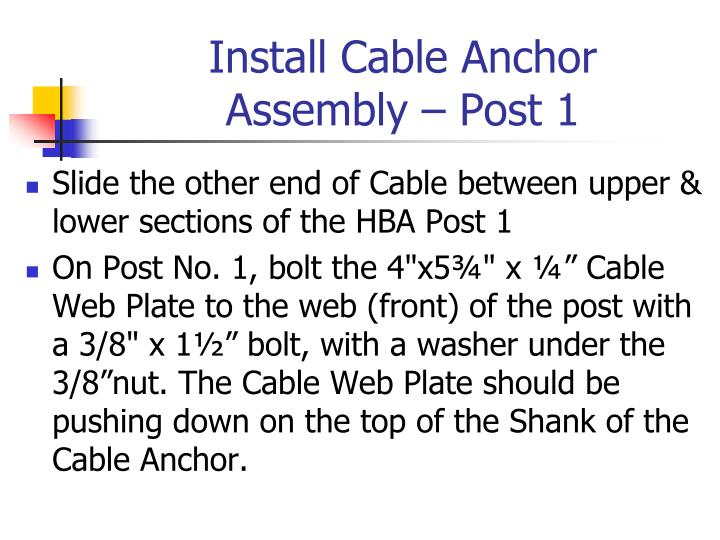 Install Cable Anchor