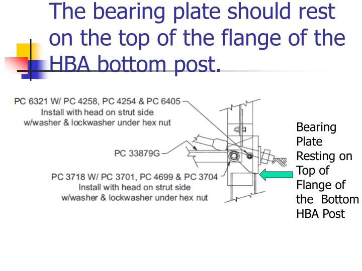 The bearing plate should rest on the top of the flange of the HBA bottom post.
