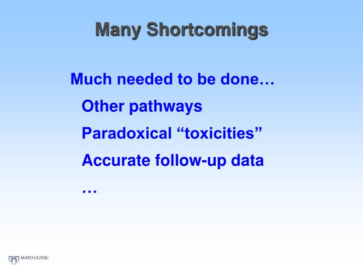 Many Shortcomings