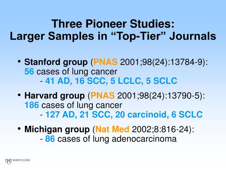 Three Pioneer Studies: