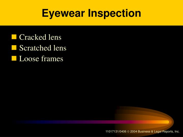 Eyewear Inspection