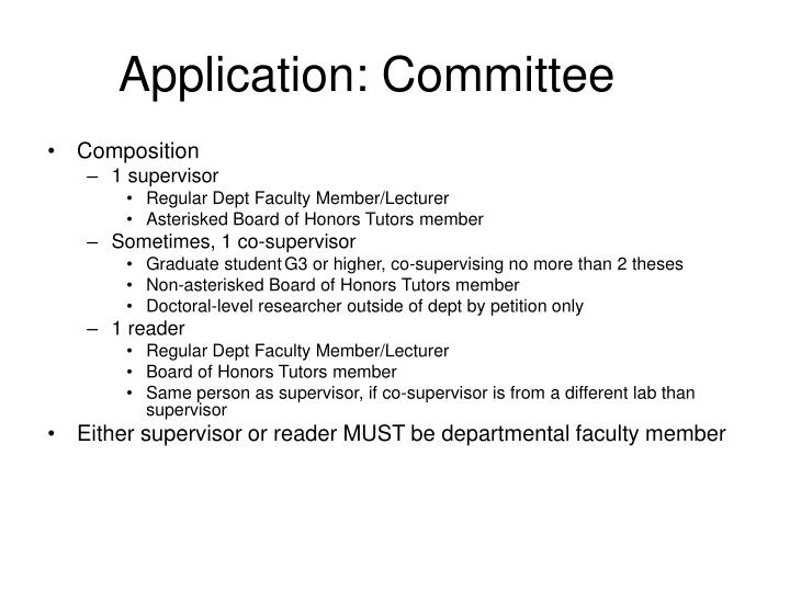 Application: Committee