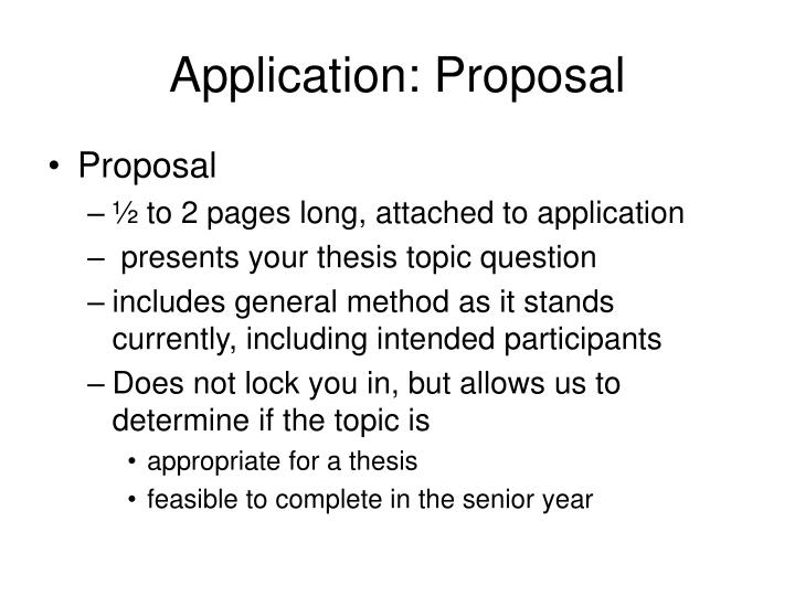 Application: Proposal