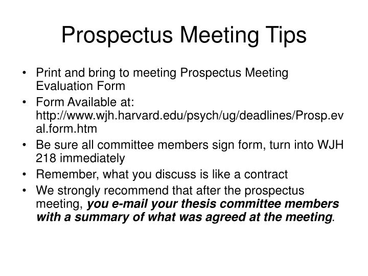 Prospectus Meeting Tips