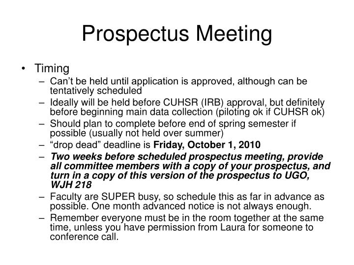 Prospectus Meeting