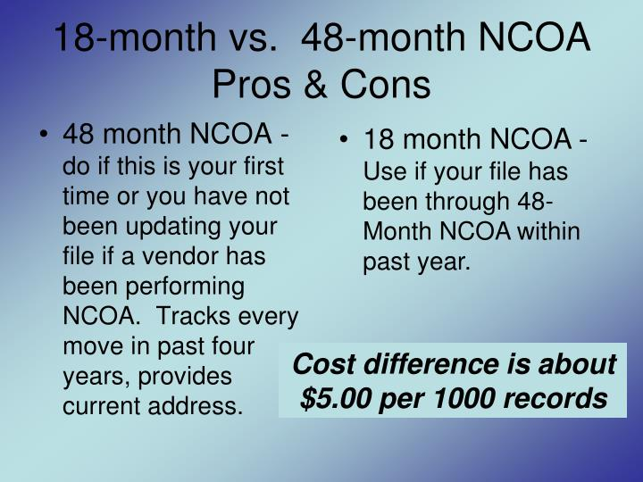 18-month vs.  48-month NCOA