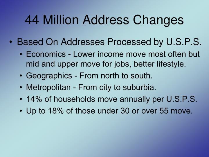 44 Million Address Changes