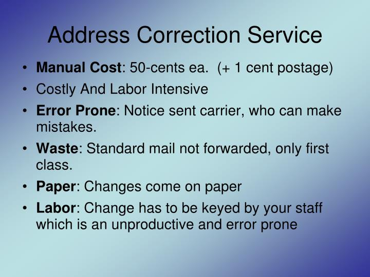 Address Correction Service