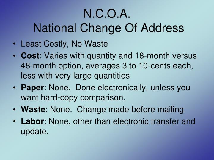 N.C.O.A.