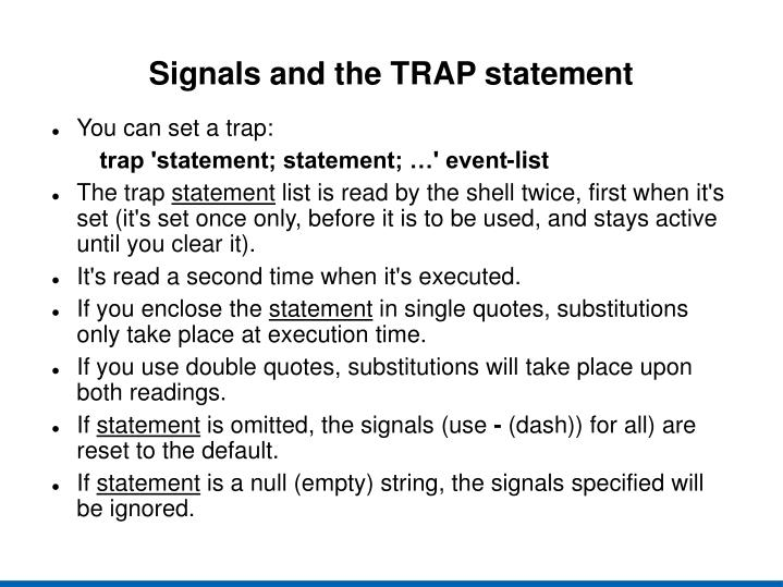 Signals and the TRAP statement