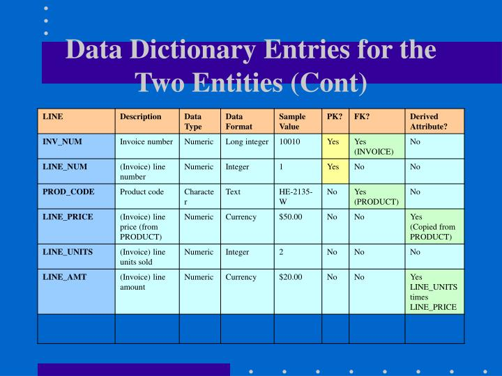 Data Dictionary Entries for the Two Entities (Cont)