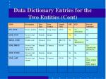 data dictionary entries for the two entities cont