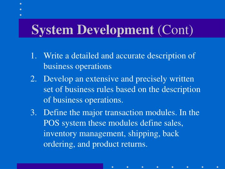 System development cont