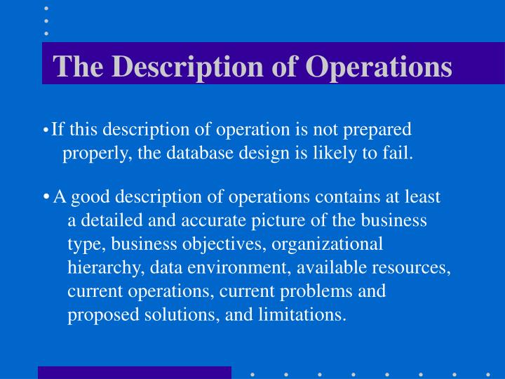 The Description of Operations