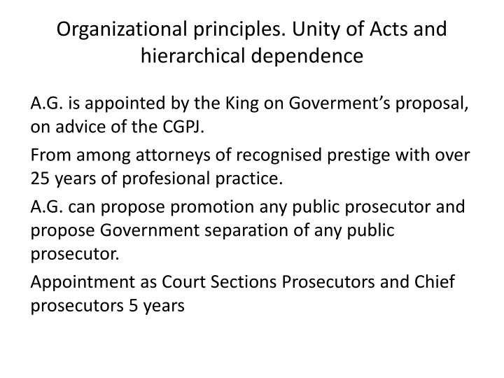 Organizational principles. Unity of Acts and hierarchical dependence