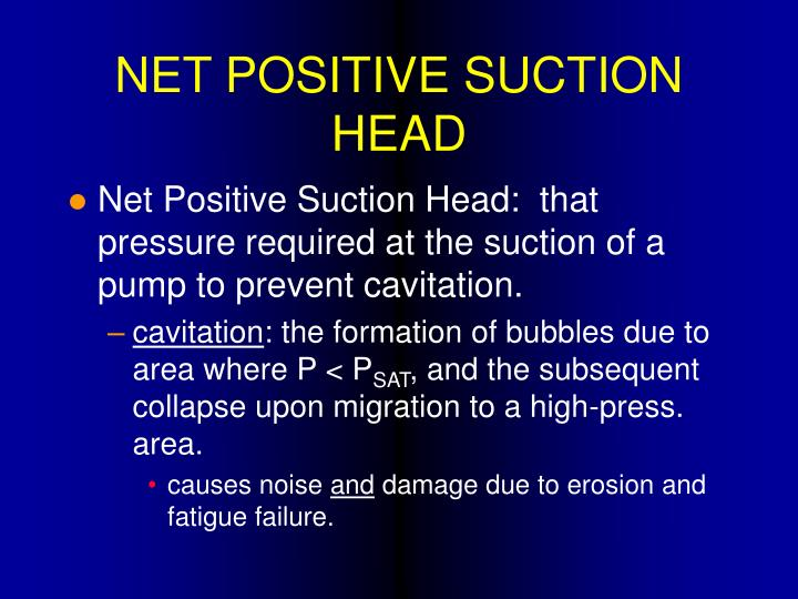NET POSITIVE SUCTION HEAD