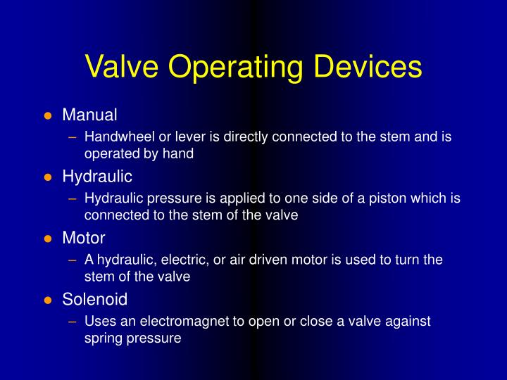 Valve Operating Devices