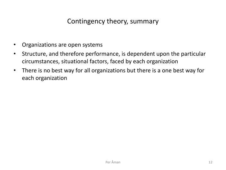 Contingency theory, summary